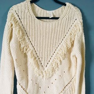 H & M Fringe Cream Sweater